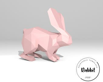 Printable DIY template (PDF).  Rabbit low poly paper model template. 3D paper trophy. Bunny. Origami. Papercraft. Cardboard animal.