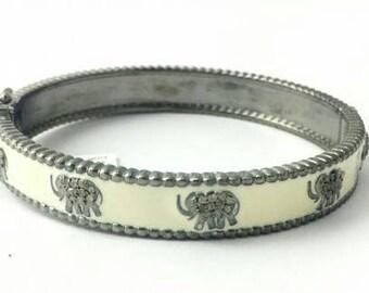 Boho Style 3.10 cts natural pave diamonds oxidized sterling silver enamel wide broad elephant royal Bracelet hinged stackable bangle