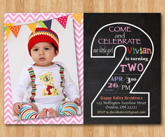 Second birthday invite demirediffusion second birthday invitation chalkboard 2nd birthday invite filmwisefo