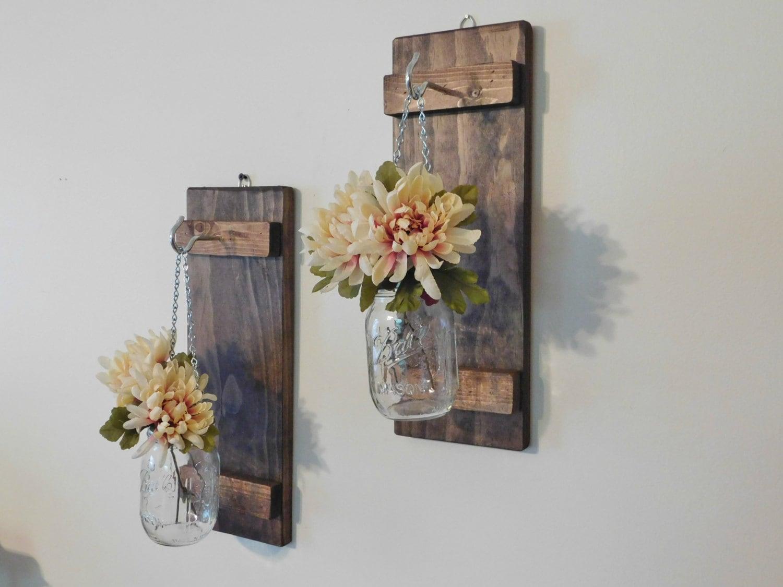 Hanging Mason Jar Sconces Rustic Home Decor Set of 2