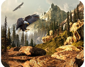 Custom mousepad, personalized mouse pad - Eagle in Mountains - add any text - Free Shipping