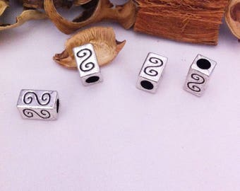 rectangular spacers 4 with S, antique silver color prints