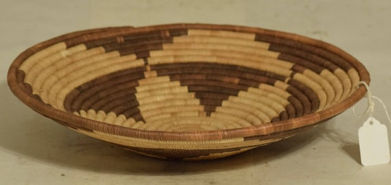 African Basket Botswana Natural Beige Brown South Africa Handmade Hand Woven Palm Women Storage Food Basket
