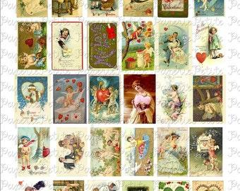 Valentines Day Postcard Digital Download Collage Sheet