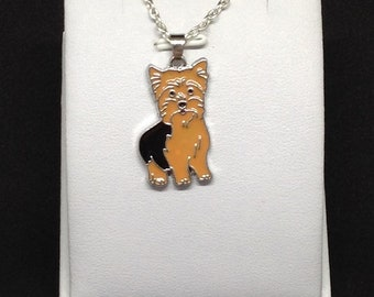 YORKIE, Yorkshire Terrier Dog Charm, Pendant with .925 Necklace - R863