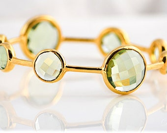 Green Amethyst bangle bracelet, Gemstone Bangles, Stackable Bangles, February Birthstone Bangle, green amethyst jewelry - bridal jewelry