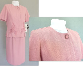 Pink Summer Suit - Vintage 1990's Suit with Lace, Fits Size 6, Small, NWT