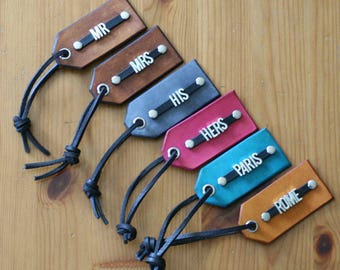 6 Leather Luggage Tags ~ Metal Font ~ Personalized ~ Initials or Name ~ 6 Tags ~ 3rd anniversary gift