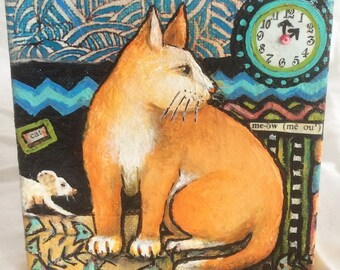 Orange Cat Mini Mixed Media Painting