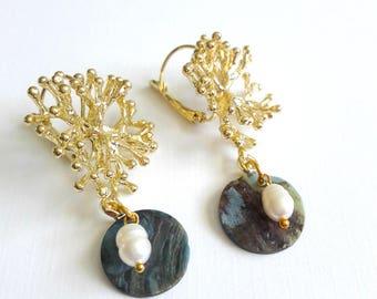 Gold earrings, coral earrings, pearl earrings, pendant earrings