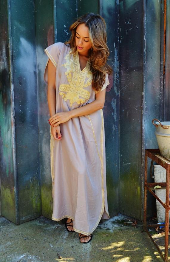 Bridesmaid gifts, bridesmaid robe, Beige Gold Marrakech One Size Resort Kaftan>>Moroccan Kaftan,wedding, bridal shower party, maternity