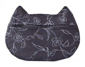 Black Cosmetic Bag, Cat Pencil Case, back to school, Floral Makeup Bag, Girlfriend Gift, Cat Bag, Makeup Organizers, Travel Bag
