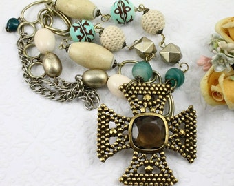 Gold Maltese Cross Assemblage Necklace, Chunky Maltese Cross Long Necklace, Aqua and Gold Maltese Cross Necklace, Long Boho Chunky Necklace