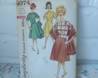 Vintage Mid Century Simplicity Pattern 4074 Junior Two Piece Dress with Stole Size 15
