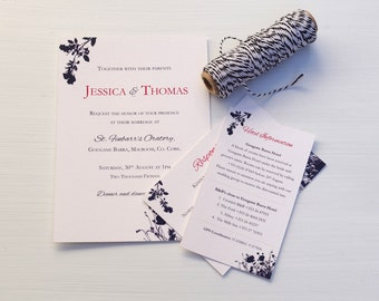 Wedding Invitation | Printable Wedding Invitation | Wedding invitations  | Navy Wedding invitations | Floral Wedding invitations