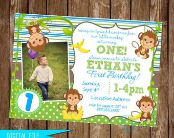 Monkey Invitation, Monkey Birthday Invitation, Monkey Birthday Party, Monkey Invitation, Monkey Party Decor, Printable Invitation