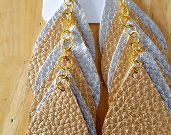 Gold/Silver Leather Shoulder Duster Dangle Earrings