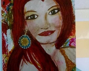 Dance & Smile Card, Greeting Card, Handmade Greeting Card, Mixed Media Card, Girl Art Card, Mixed Media Card, Choice of Message, Redhead Art