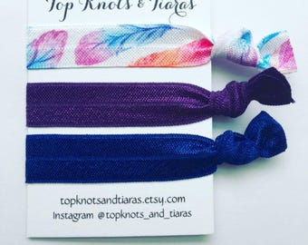 Feather Elastic Hair Ties / Set of 3