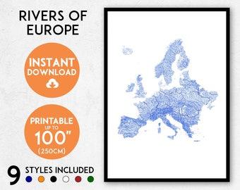 Europe map print, Printable Europe map art, Europe print, Europe art, Europe poster, Europe wall art, Europe gift, Map of Europe, EU map