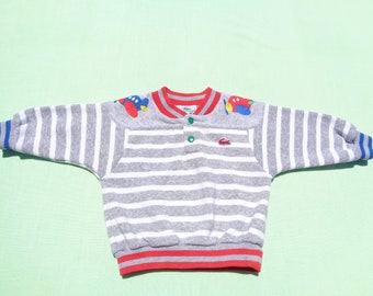 vintage chemise lacoste baby boys sweatshirt top size 12 months see measurements stripe airplane design