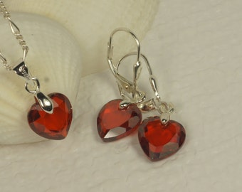 Valentines Day Gift Heart Pendant on Sterling Silver Necklace Cubic Zirconia Dangle Earrings