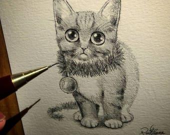 Christmas Kitty. Original Artwork. Raul Guerra