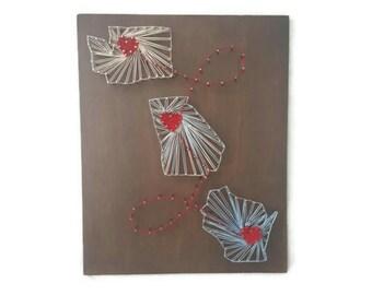 State String Art - Christmas Gift - Custom Christmas Gift - Custom Sign - Custom Gift - Personalized Present - Custom Gift for Her