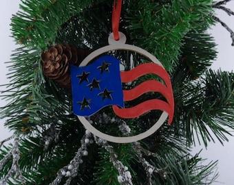 American Veteran Flag Ornament