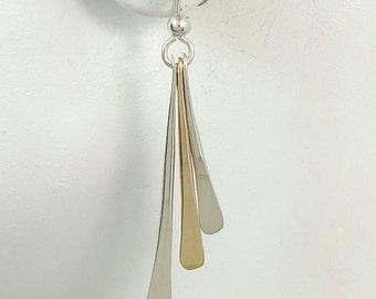Earring Jackets, Two Tone Silver and Gold, Stud Jacket, Post Earring Jackets, Ear Jackets for Studs, Dangle Jacket Triple Dangle JD8TTGFSS