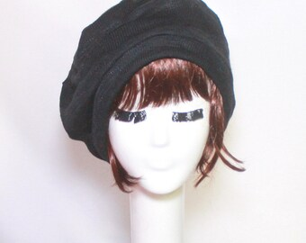 Beret hat -Slouchy Black Striped Sweater Knit