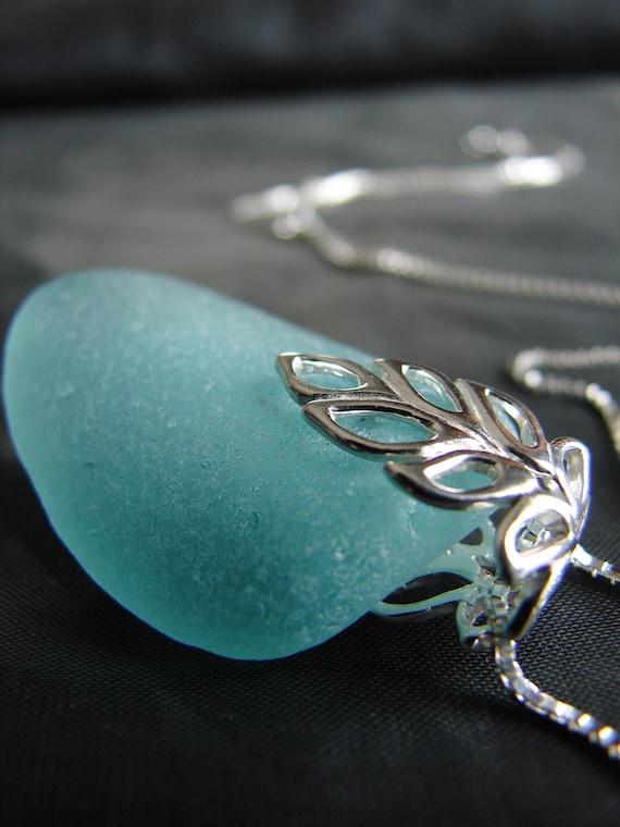 Lagoon sea glass necklace in aquamarine