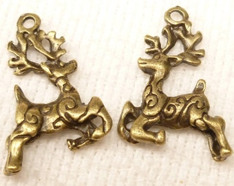 Jumping Reindeer with Swirls Charms Two Sided, Antique Bronze (6)