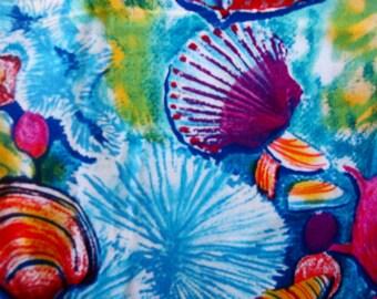 Shamash & Sons Beack Seashell bright cotton fabric Aqua BTY