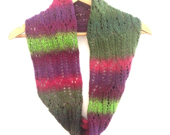 Striped wool lace scarf , hand knitted infinity scarf ,  green / pink / purple circle scarf , long knit cowl , fashion gift for her