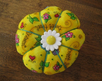 Yellow Pumpkin Style Pincushion