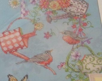 NEW Dimensions Blooming Watering Cans Stamped Cross Stitch Kit Birds Butterfly Bee