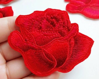 Ombre Red Rose Flower Full Embroidered Iron On Patch Appliqué