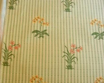 Pastel Embroidered Flowers Stripe Lampas Designer Fabric Sample