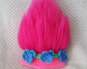 Crochet Troll Hat, Poppy Hat Crochet, Adult Troll Hat, Child Poppy Hat, Costume Hats, Toddler Hats