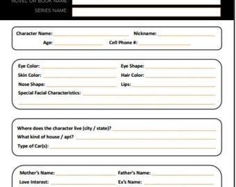 Character Development Worksheet - Printable PDF - For Writers