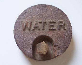 Vintage Cast Iron Water Main Cover Shabby Chic Wall Hanging Rusty Home Decor
