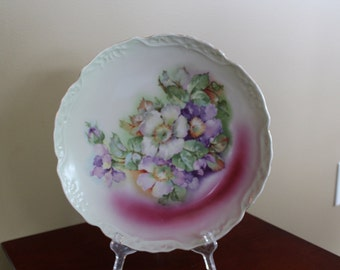 Large Floral Decal Porcelain Plate