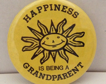Vintage Pinback Happiness is Being a Grandparent Pin 1970s 1980s