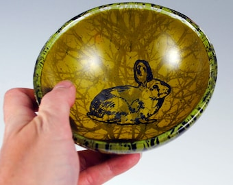 Rabbit Small Fused Glass Bowl