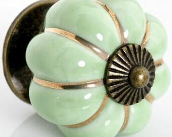 Knobs / Drawer Knobs / Dresser Knobs / Ceramic Knob Pulls Handles Green Antique Brass / Rustic Kitchen Cabinet Knobs Pull Handle Hardware