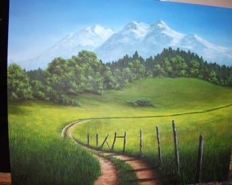 Mountain, Summer, Field, Road, Path, Fence, Grass, Spring, West, Tree,Nature, Abandoned, Original Landscape Oil Painting