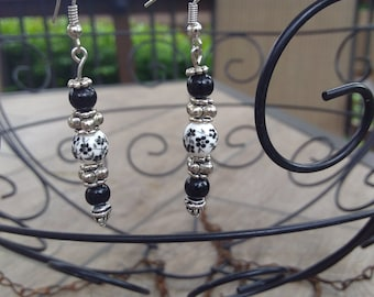 Black and White and Silver floral earrings