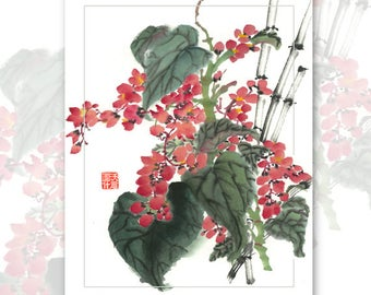Watercolor Chinese Brush Painting Cards -  Begonia