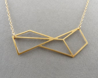 simple necklace rectangle necklace geometric jewelry twisted rectangle necklace architecture jewelry geometric jewelry polygon jewelry